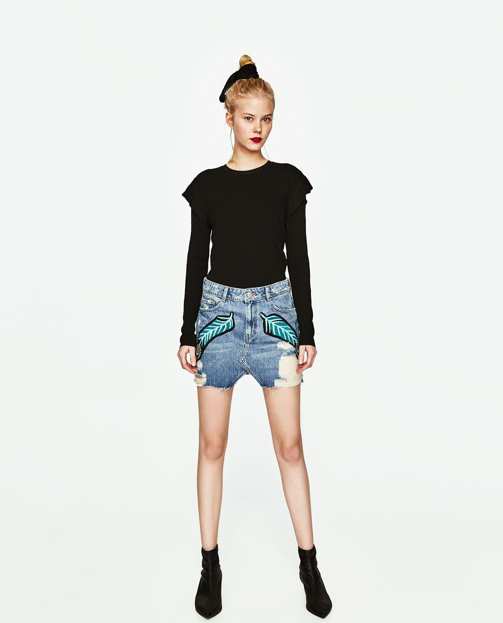 4fc66bcefd RIPPED DENIM MINI SKIRT WITH FEATHER DESIGN | fabulous fashion ...