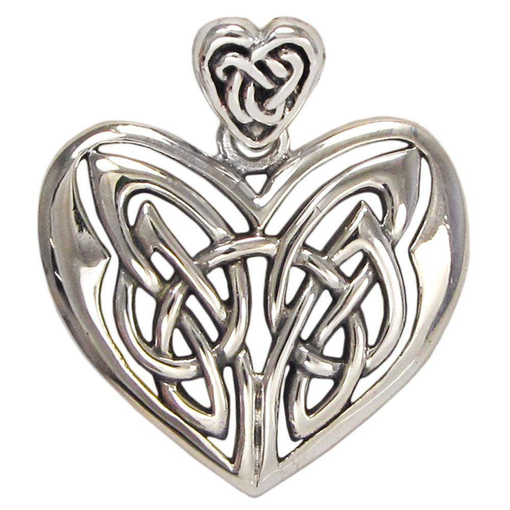 Sterling Silver Celtic Love Knot Heart Charm Pendant Irish Knotwork Jewelry