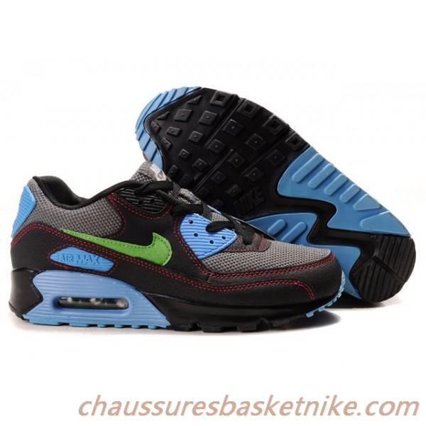 new concept 174a8 39161 Hommes Nike Air Max 90 Chaussures Noir Gris Bleu Vert
