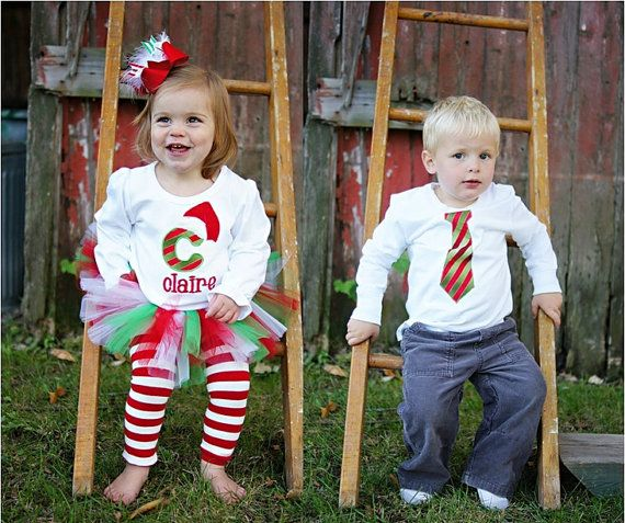 PERSONALIZED Matching Brother and Sister Sibling Christmas Outfits - Red  and Green Candy Cane - Twins - PERSONALIZED Matching Brother And Sister Sibling Christmas Outfits