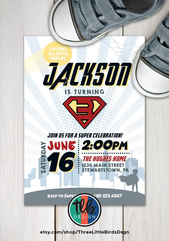 Superhero birthday invitation superhero invite superhero party hero ...