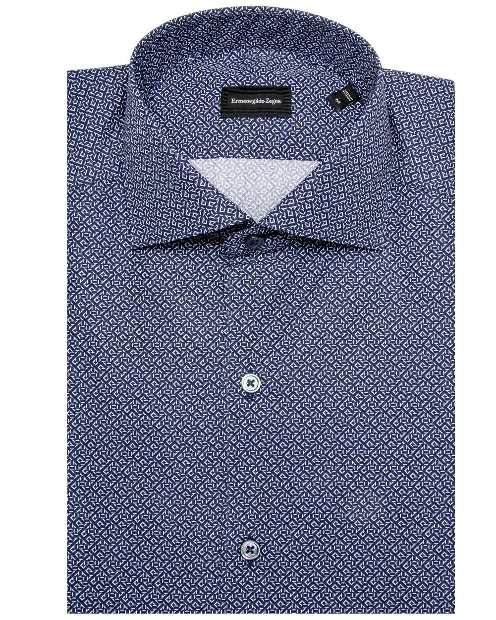Ermenegildo Zegna Navy Geometric Dress Shirt Classic Fit Spread