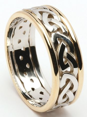 Sterling Silver Celtic Knot Ring With 10k Yellow Gold Rims Weddingrings Celticrings