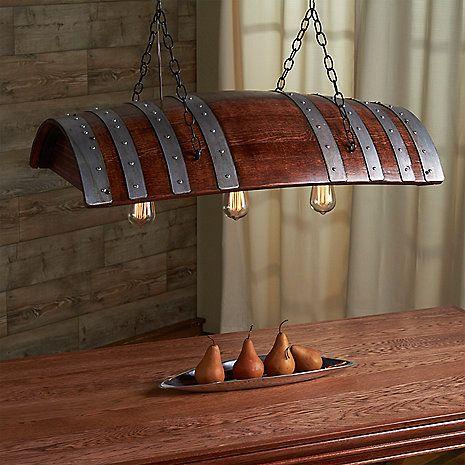 Otra #lámpara a partir de un a#barrica #vino #bodega #cata diseños