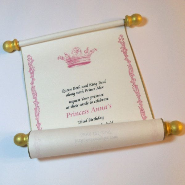 Royal prince princess birthday invitation scrolls with medieval royal prince princess birthday invitation scrolls with medieval crown for fairy tale event gold silver accents filmwisefo Images