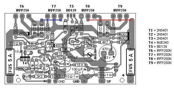 200w Mosfet Amplifier Based Irfp250n Pcb Design Placa De Circuito Impressa Circuito Impresso Placa De Circuito
