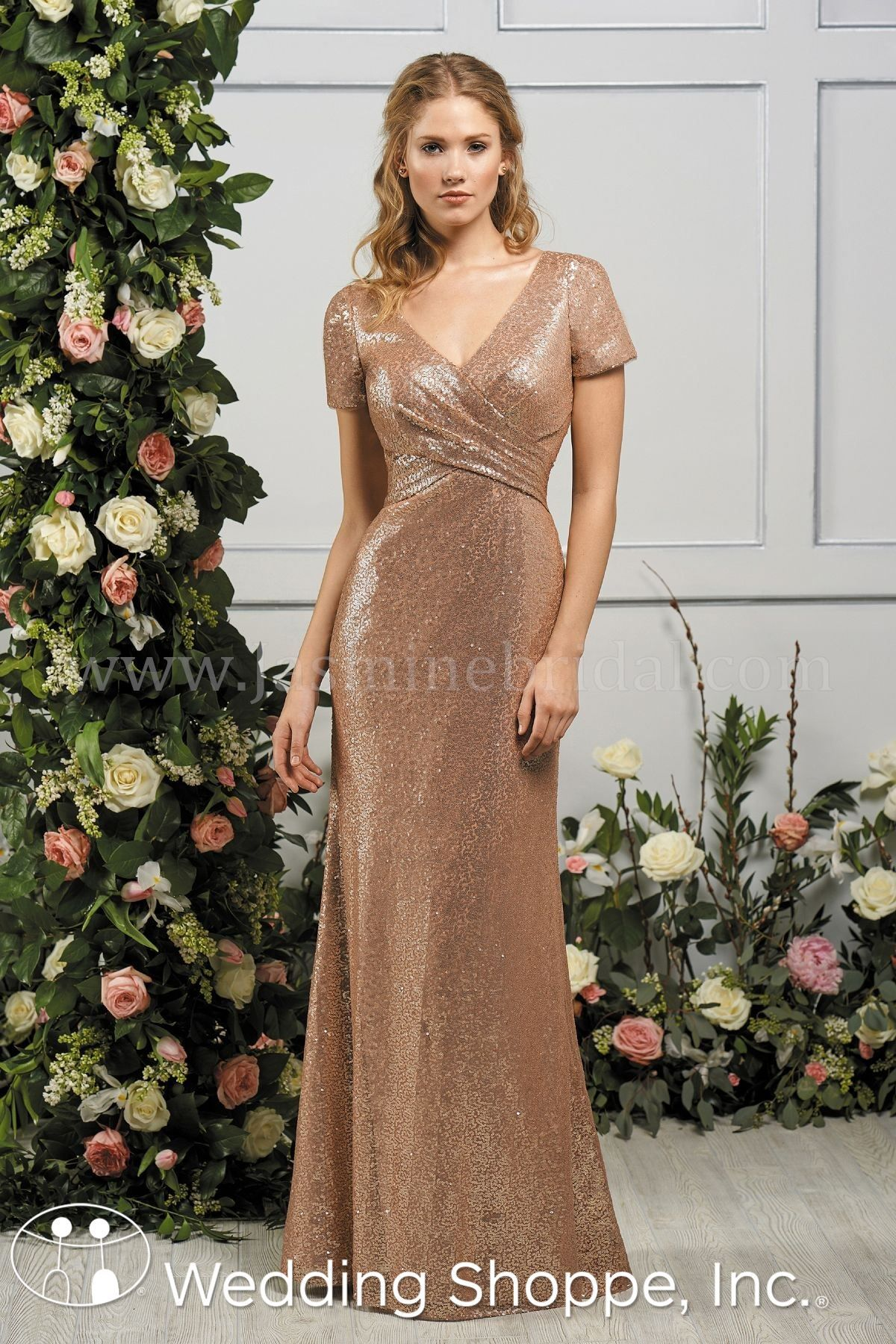 ce45f4f8236 Glamorous sequin cap sleeved bridesmaid gown