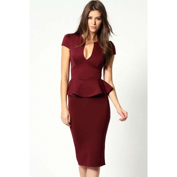 Red cap sleeve peplum dress