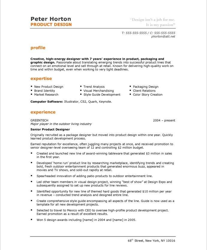 Product Designer-Page1 Designer Resume Samples Pinterest - product development resume sample