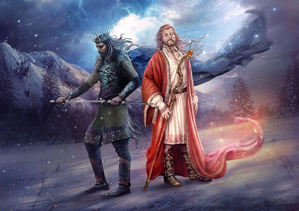 Slavic mythology. Belobog and Chernobog by Vasylina on @DeviantArt