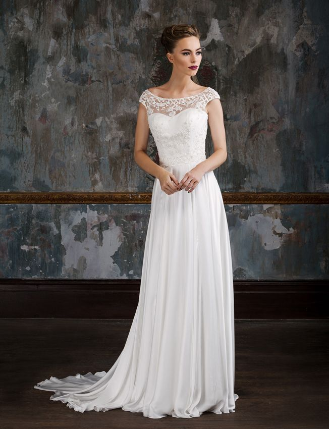 1c3bbda60f Tahlia by Jack Sullivan Ivory Sating dress with embellished lace illusion  top and open back detail