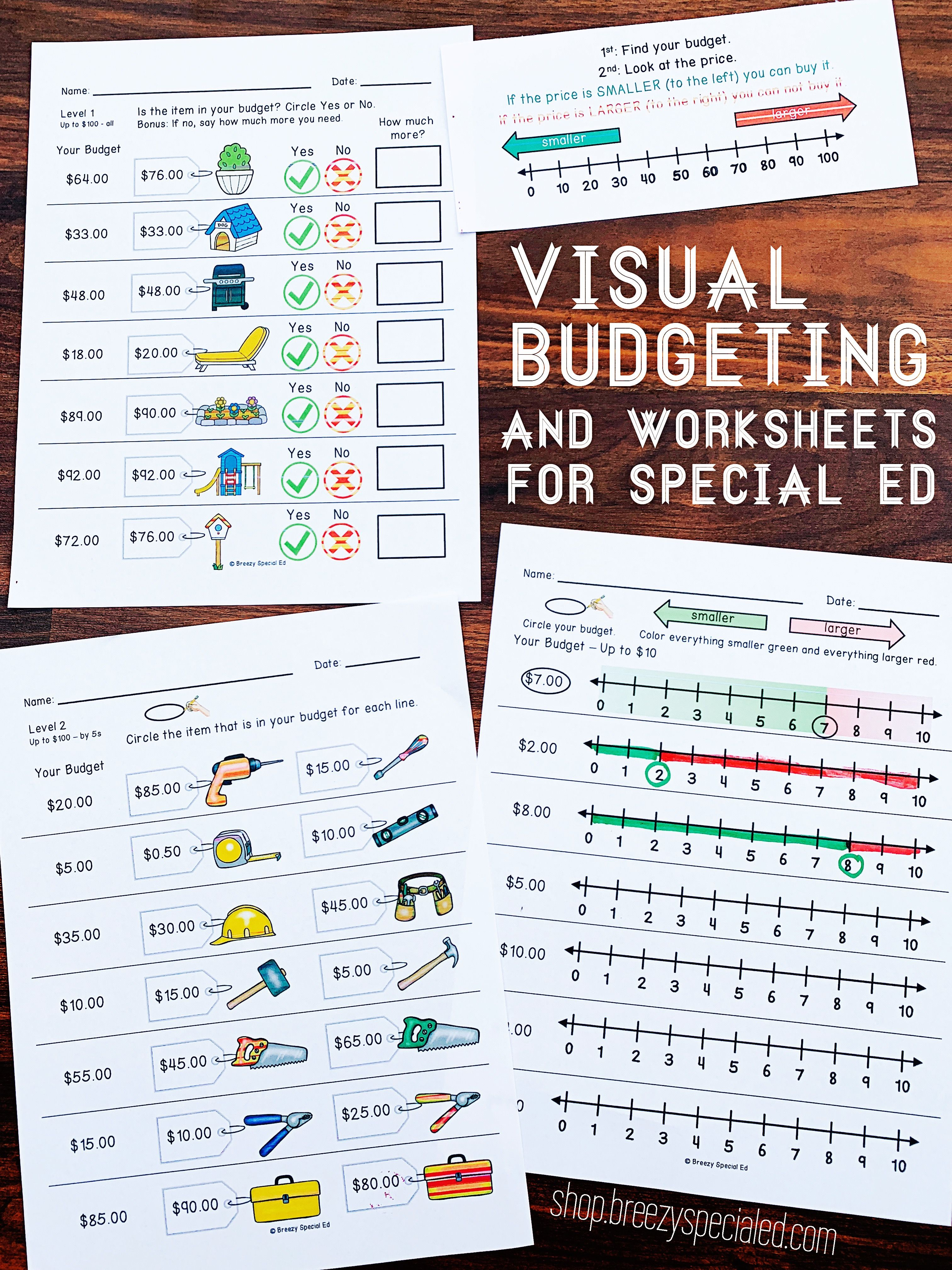 Visual Budgeting Worksheets For Special Ed Special Education Math Math Methods Budgeting