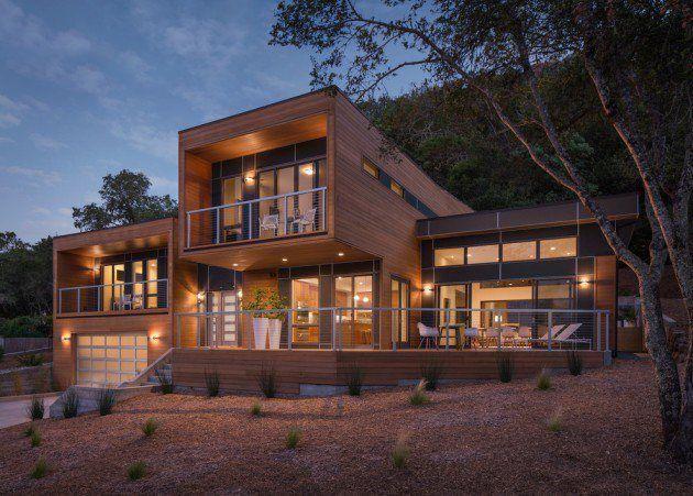 Tolles design mit viel holz villa traumhaus modern for Case moderne di design