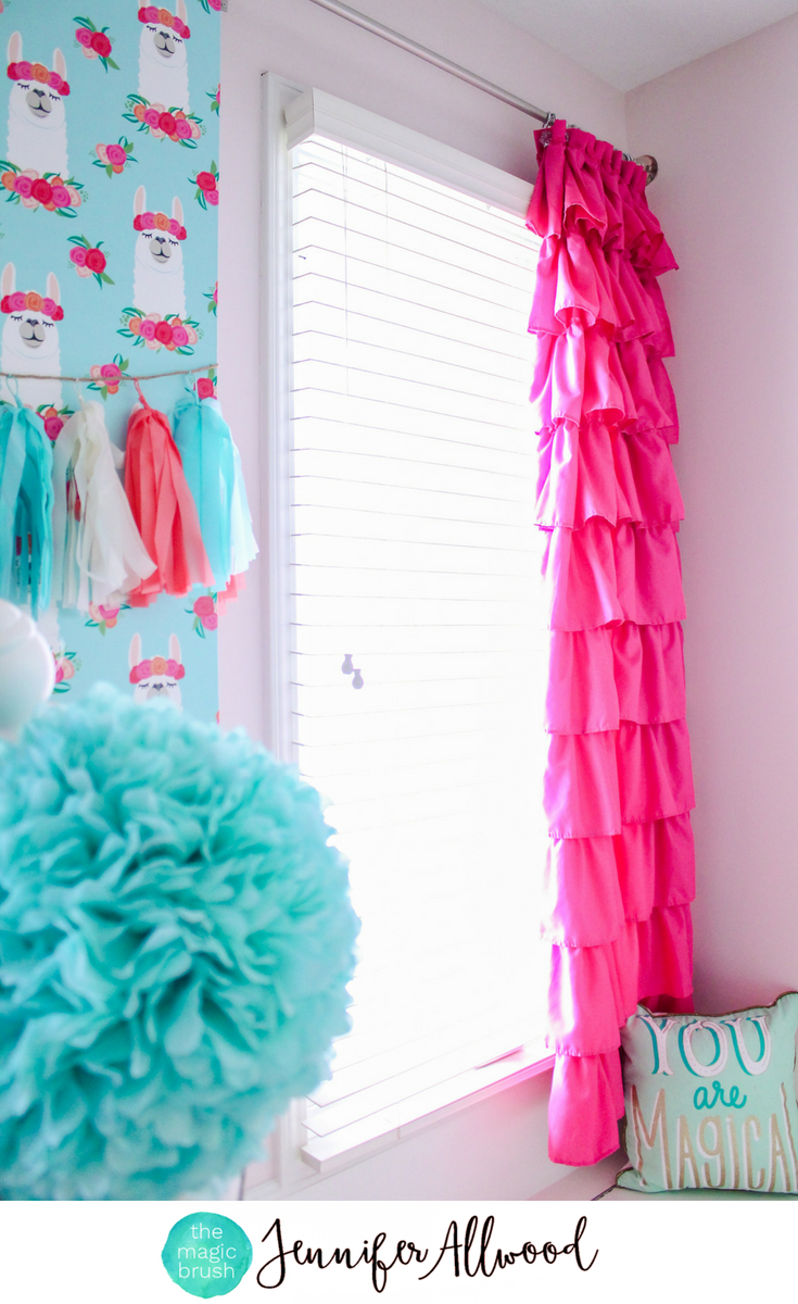 Pink Ruffle Curtains + Llama Wallpaper in a Girl\'s Room by ...
