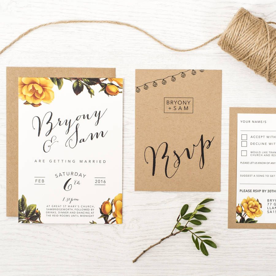 Bright Botanics Wedding Invitation | Mustard wedding, Wedding and ...