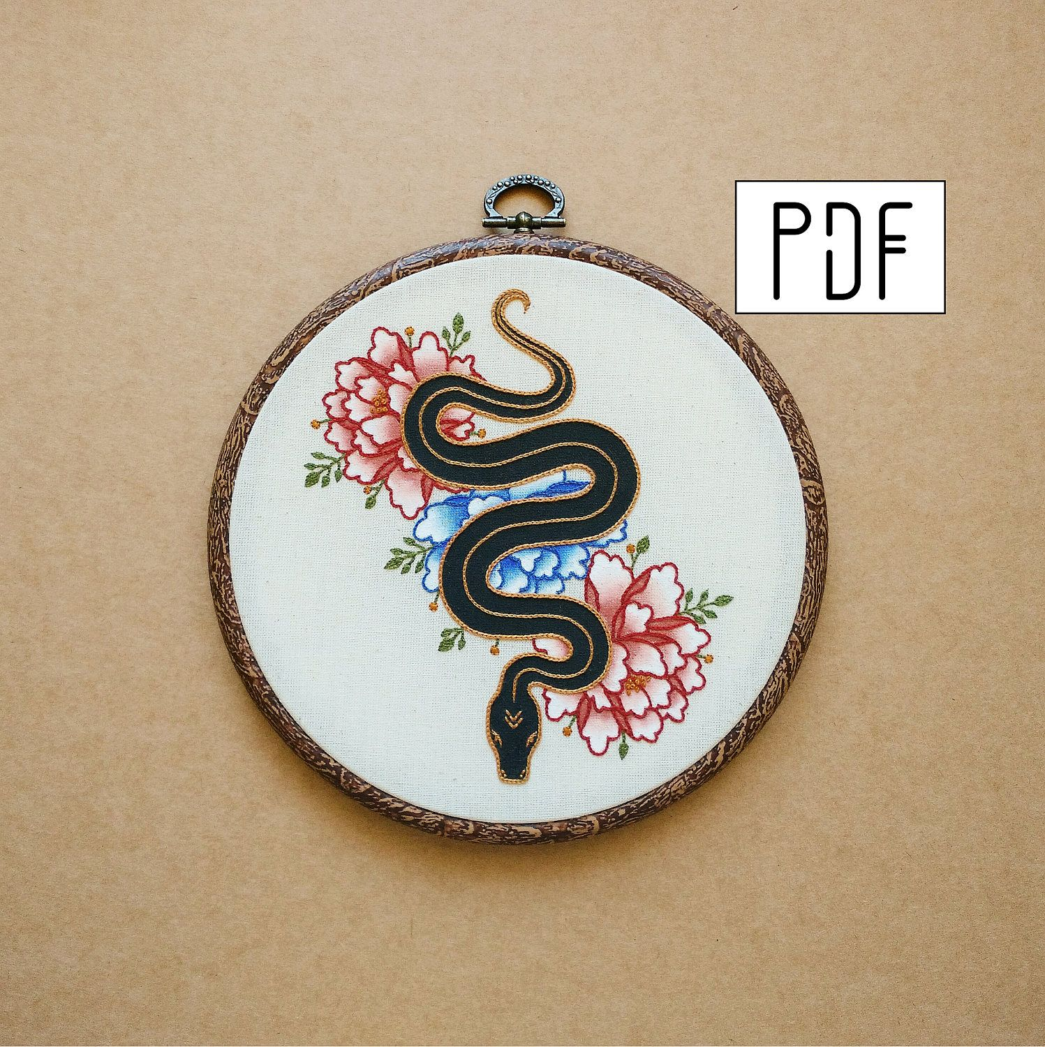 Snake and flowers hand embroidery pattern pdf modern