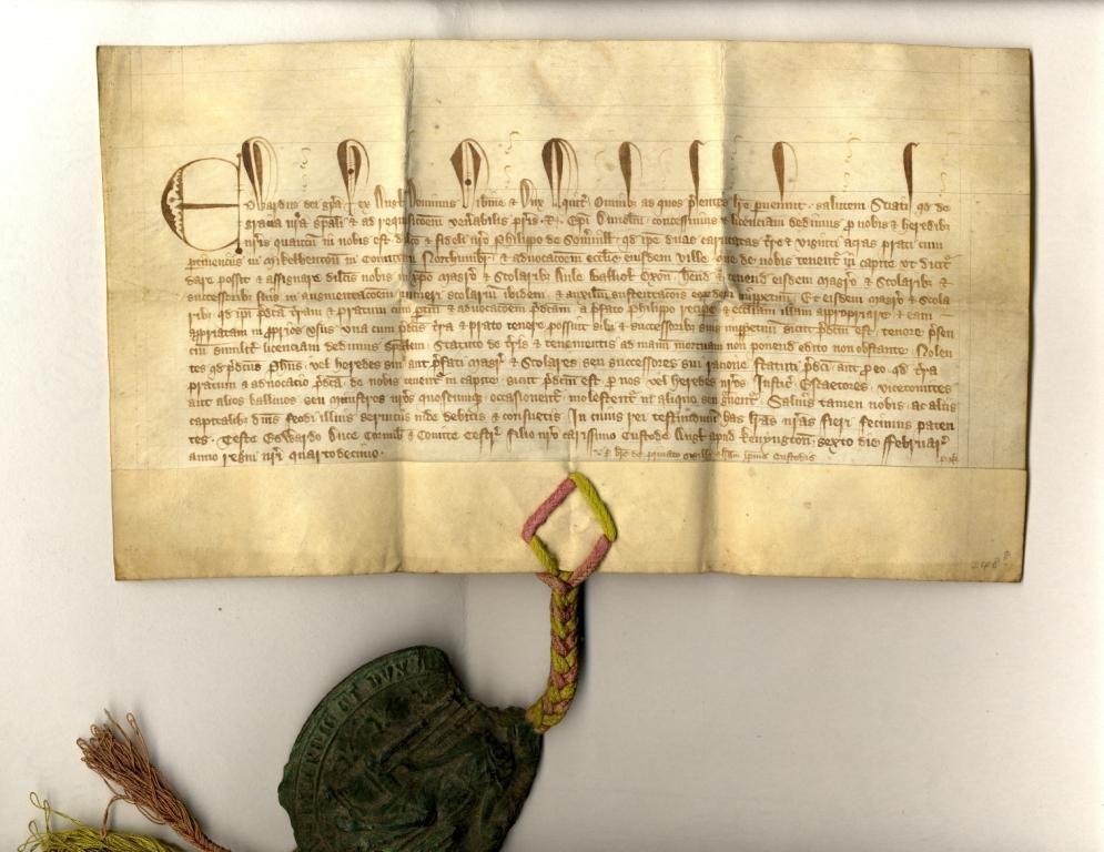 Licence in Mortmain of Edward III regarding the Advowson of Long Benton, 1366