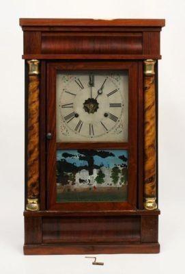 Antique En Welch Columned 1800s Mantle Clock Us