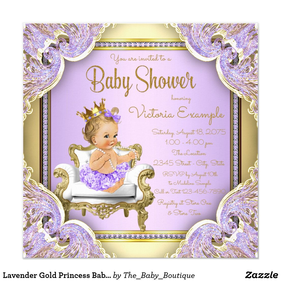 Lavender Gold Princess Baby Shower Invitations. Purple and gold baby ...