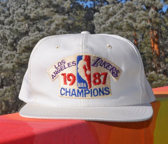 edc00bf967d0a vintage 80s trucker hat LA LAKERS 1987 champions nba basketball los ...