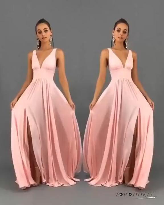 Pink Simple Bridesmaid Dress