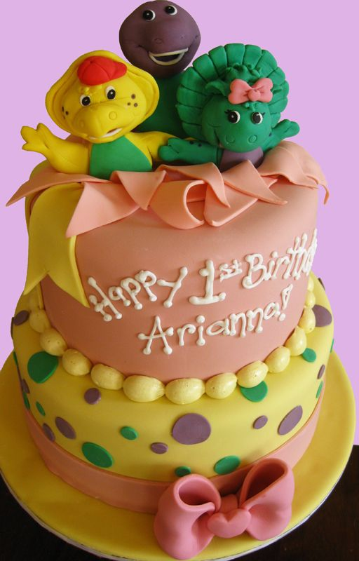 Wondrous Baby Showers And First Birthdays Barney Birthday Cake Barney Personalised Birthday Cards Cominlily Jamesorg