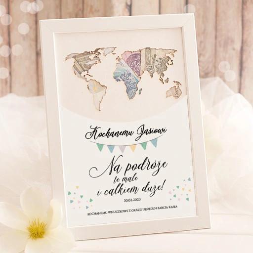 Plakat Mapa Swiata Na Urodzinki Na Pieniadze Gifts Gift Box Frame
