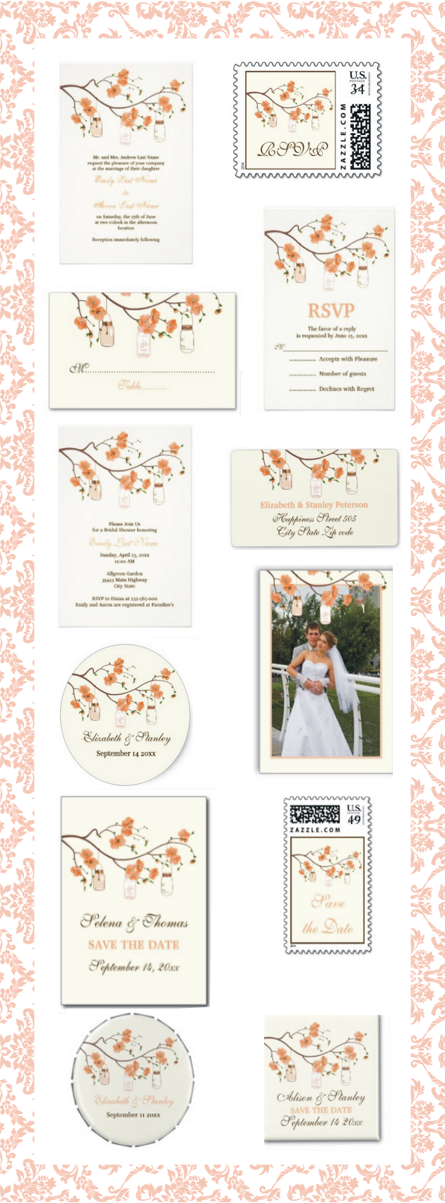 Mason jars and coral, peach cherry blossoms wedding invitations and matching stationery. , #masonjars, #cherryblossoms, #peach, #coral, #wedding, #invitations, #invites, #weddinginvitations, #weddinginvites