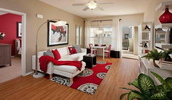 Klein Wohnzimmer Rot Weiß Couch Idee