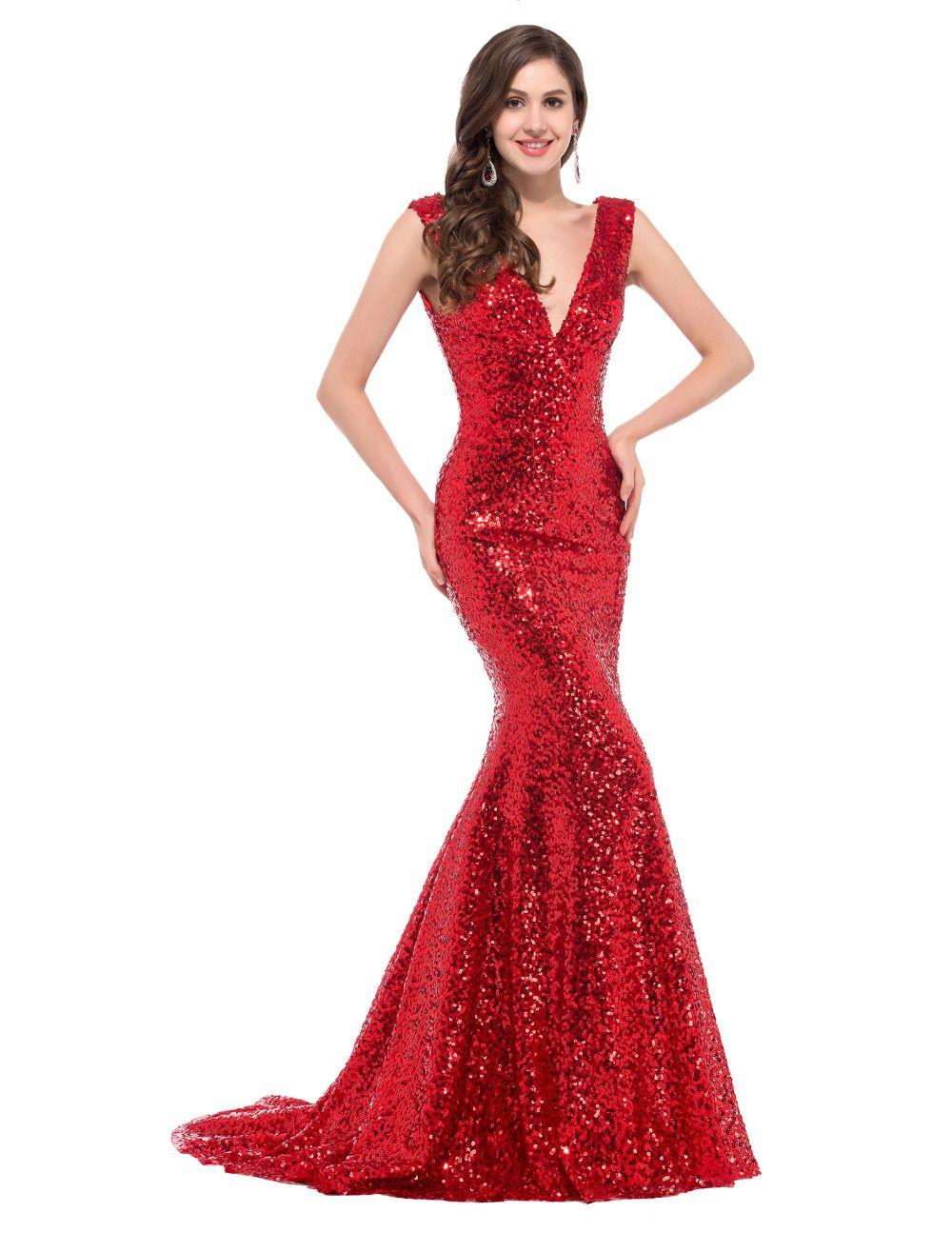 ba1f3409c9 Barato Barato Longo Vermelho de Lantejoulas vestidos de noite 2016 robe de  soirée longue vestido de noche Sexy Trumpet sereia de Ouro vestido formal  ...