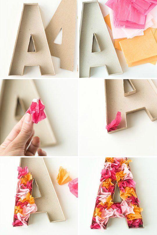 Letras de cartón decoradas con papel de seda : Las letras son un complemento ideal para decorar
