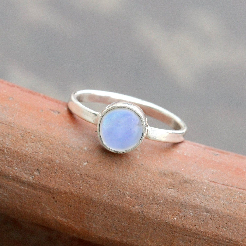 Rainbow Moonstone ring, Minimalist ring, June Birthstone