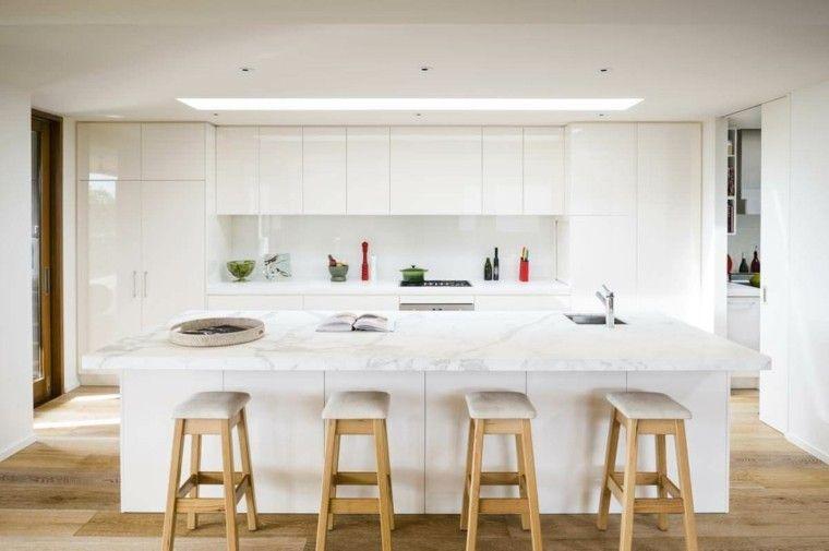 Color blanco y madera de roble para las cocinas modernas   Cocina ...