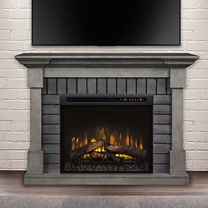 Royce Electric Fireplace Mantel Package In Smoke Stack Grey In