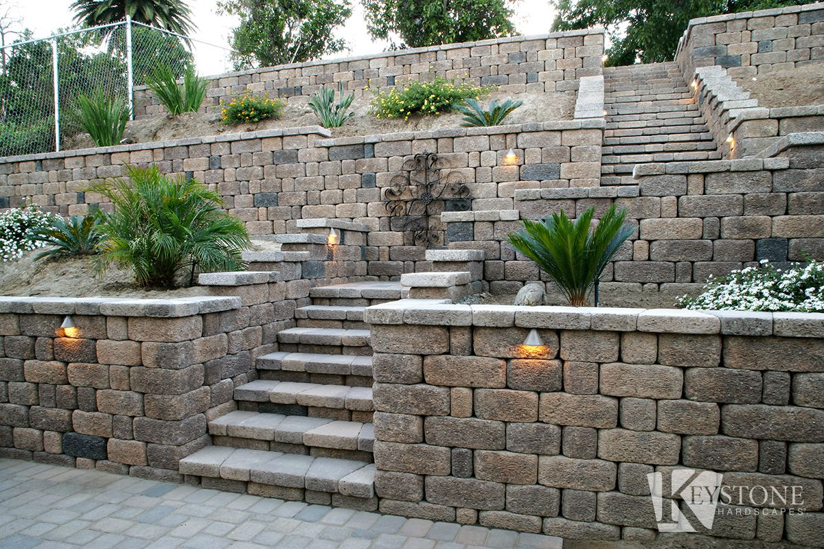 Amazing Country Manor Steps Application Countrymanor Keystone Steps Outside Diy Landscape Out Sloped Backyard Landscaping Sloped Backyard Sloped Garden