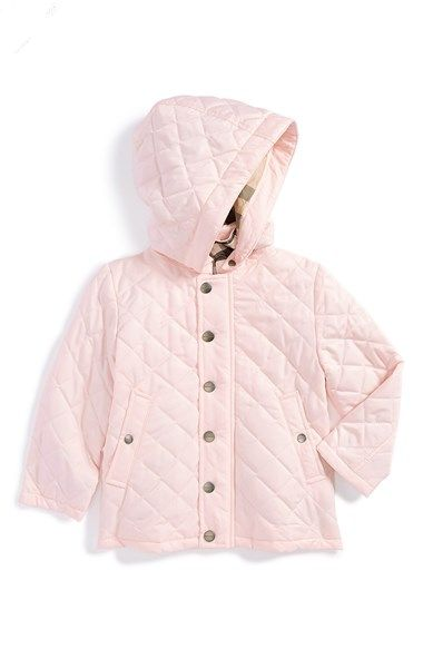 bdc5e8fb0a8 Free shipping and returns on Burberry Hooded Quilted Jacket (Baby Girls) at  Nordstrom.com. A detachable hood lends cold-weather versatility to a cute