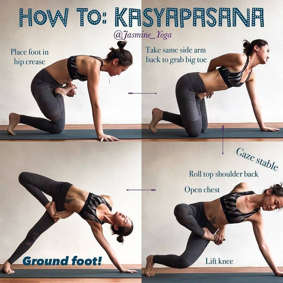 #Repost @jasmine_yoga with @instatoolsapp ・・・ #JasmineYogaTutorial : #Kasyapasana My 'cheat cheat' way of getting into this pose. Short arm problem It is impossible for me to bind AFTER getting into side plank. So the only option was to bind before actually going into the pose. Here i show you how I do it, try so u can at least experience how it feel like to find that bind. The tricky part with this transition is in step 3. Lifting the knee and ground foot needs to happen simultaneousl...