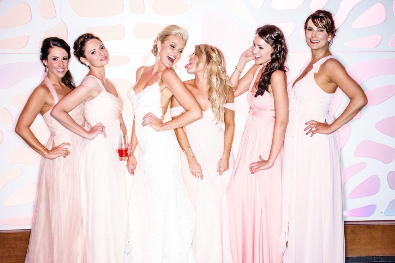 Dianna agron wedding dress  Mixed pink bridesmaid dresses  Katie May backless wedding dress