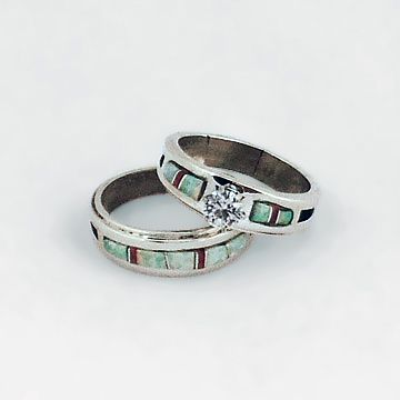 Navajo Native American Opal and Coral Wedding Ring Set, WR504 ...