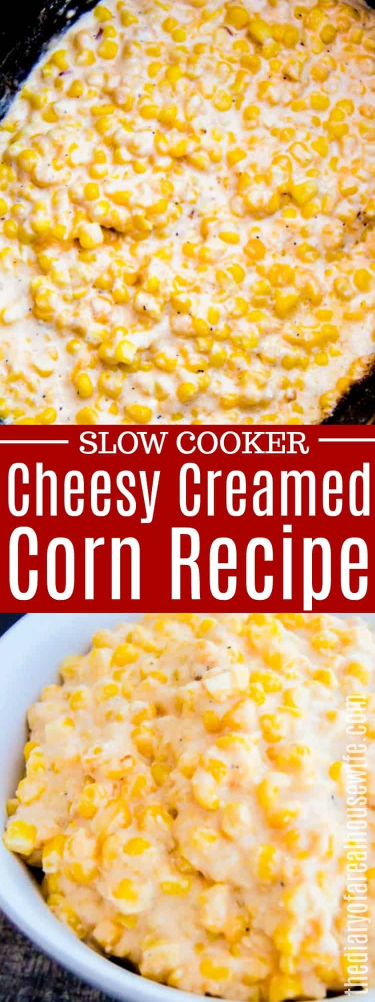 Slow Cooker Cheesy Creamed Corn #thanksgivingsidedishes