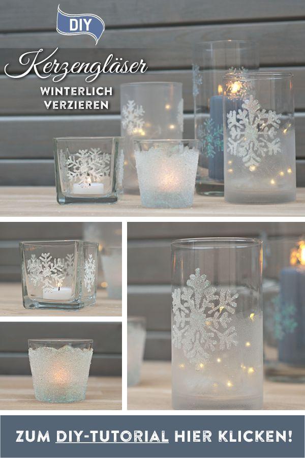 DIY: winterlich funkelnde Kerzengläser selbermachen
