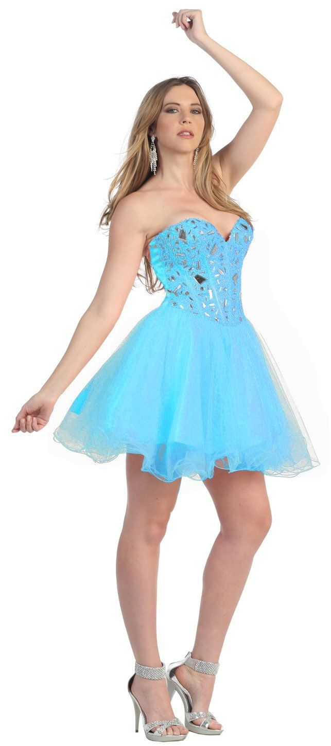 Strapless cocktail party short mirror prom dress