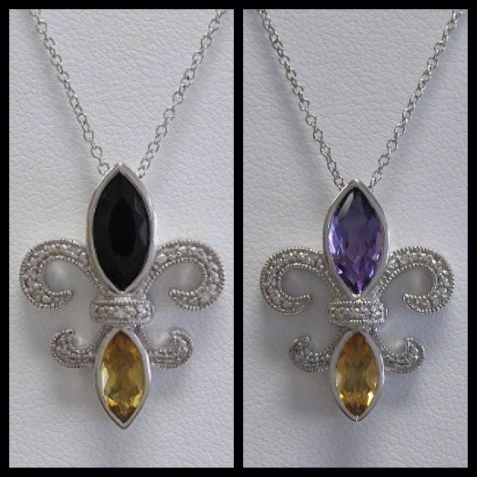 Fleur de lis necklace. Available in black onyx/citrine or amethyst /citrine. Set in sterling silver.  $125.00