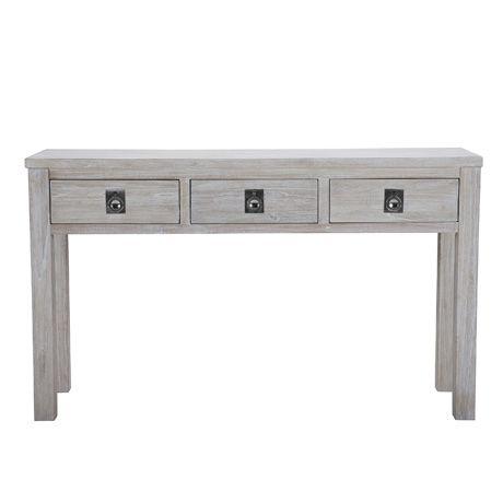 Cancun 3 Drawer Console Table White WashFreedom Furniture