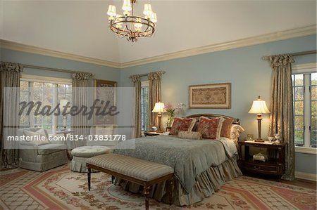 Master Bedrooms Blue And Rose Bedding Blue Walls White Woodwork Rose And Creme Aubusson Rug Neo Classic French Blue Master Bedroom Rose Bedding Side Chairs