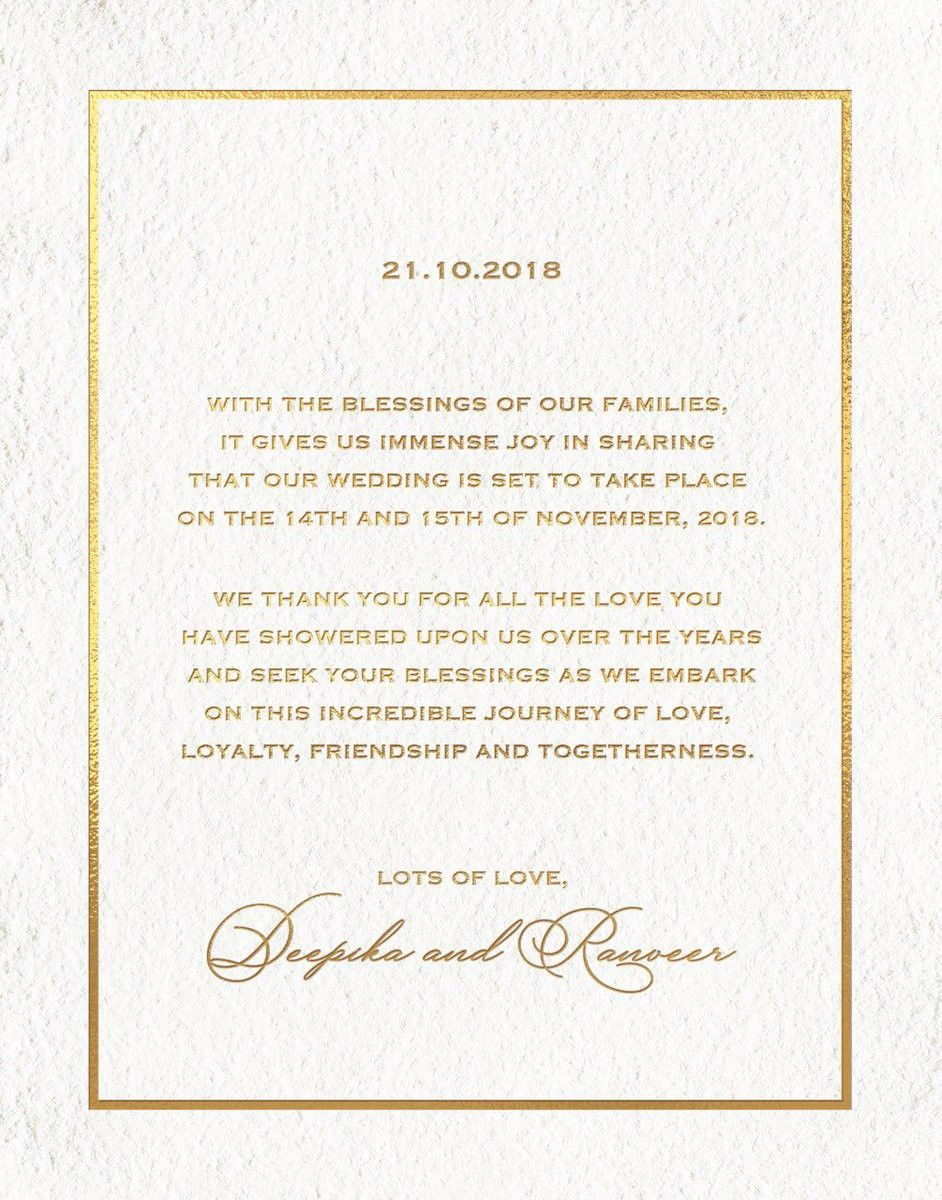 My First Ever Real Life Ship Has Sailed And Here S The Deepveer Wedding Invite Wedding Invitation Cards Big Wedding Deepika Padukone