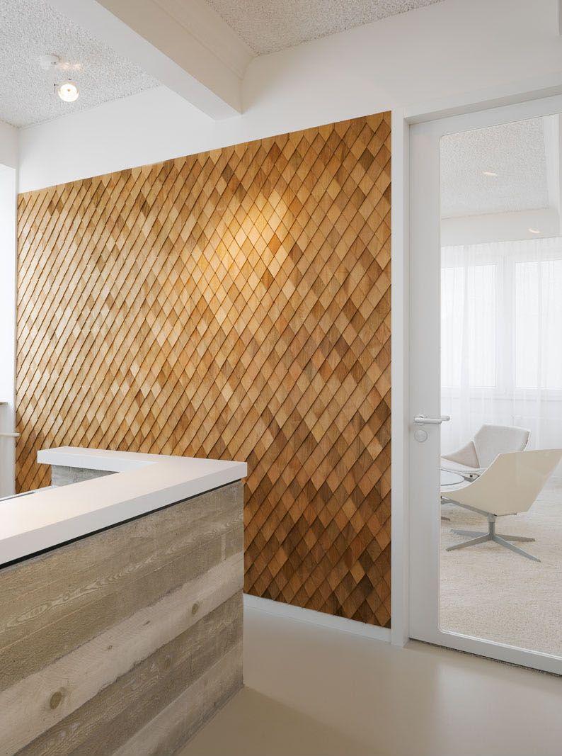 office feature wall. Feature Wall: Agentur Bruce B Office In Stuttgart Germany - Diamond Wood Shingle Wall Accent