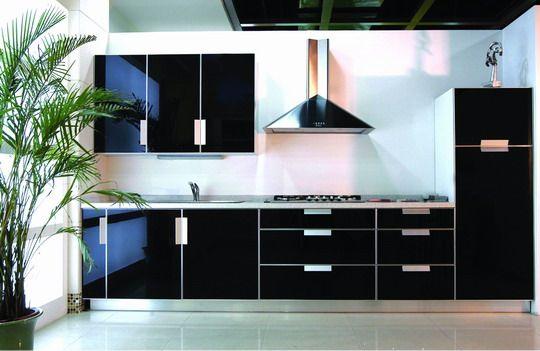 High Gloss Black Cabinets With Mirror Surface Kitchen Furniture Design Images Kitchen Furniture Design Black Kitchens