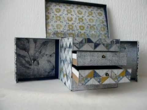 Flip Open Chest Of Drawers Made With Scrapbookpaper Youtube Diy