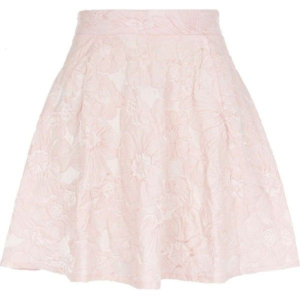 River Island Light pink floral embossed skater skirt ($7.59) ❤ liked on Polyvore featuring skirts, bottoms, faldas, pink, sale, floral circle skirt, pink floral skirt, pink skirt, floral skater skirt and flared skirt